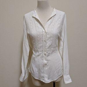 Karen Kane white blouse button front xs